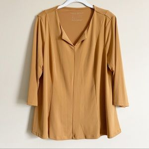 SUSAN GRAVER / mustard yellow LS career top / L